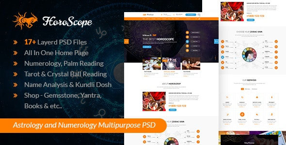 Horoscope - Astrology and Numerology Multipurpose PSD Template - Business Corporate