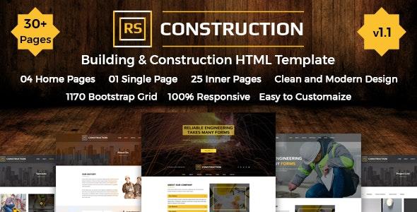 RSConstruction - Construction & Building HTML Template - Business Corporate