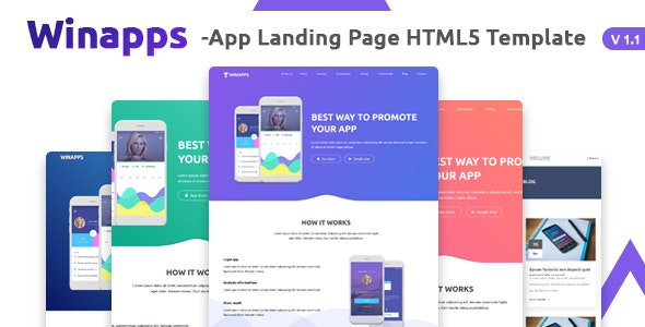 Winapps - App Landing Page HTML Template - Technology Site Templates
