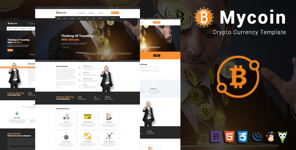 MyCoin - Bitcoin Crypto Currency Template - Business Corporate