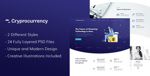 CryptoCurrency - PSD Template - Corporate Photoshop