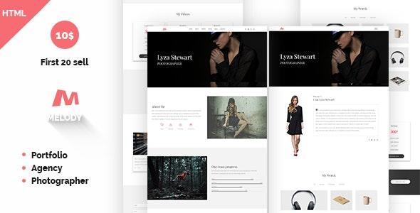 Melody Photographer Agency One Page Template - Photography Creative