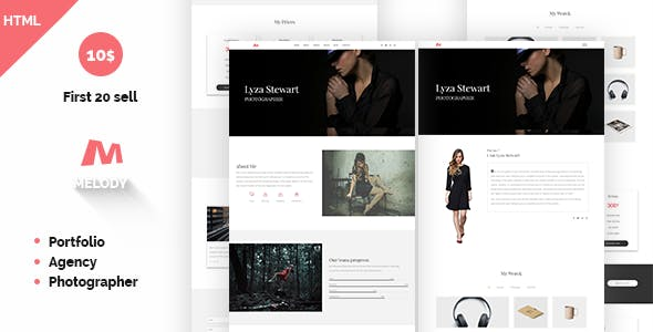 Melody Photographer Agency One Page Template