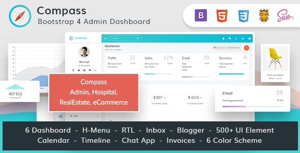 Compass Bundle -Bootstrap 4 Admin for Hospital RealEstate