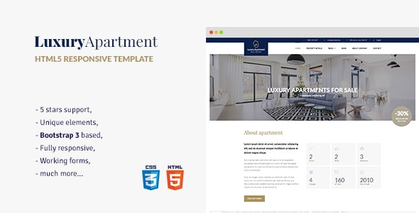Luxury Apartment - Single property HTML5 Template - Business Corporate