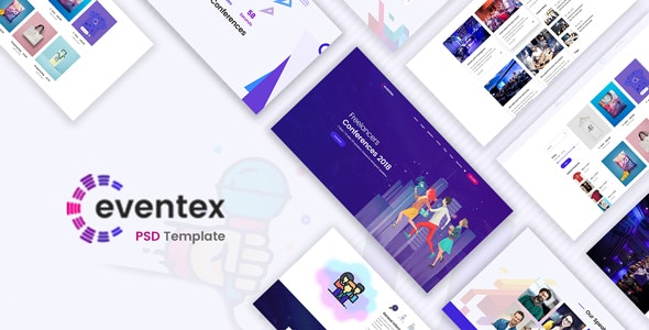 Eventex - Event, Meeting & Conference PSD Template - Photoshop UI Templates