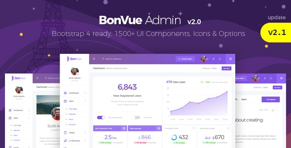 BonVue - HTML Bootstrap 4 Admin Template - Admin Templates Site Templates