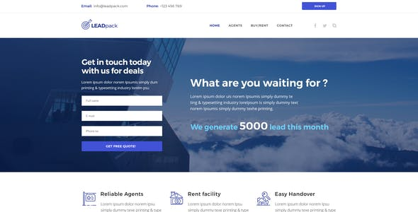 LEADPACK - Marketing PSD Landing Pages Pack