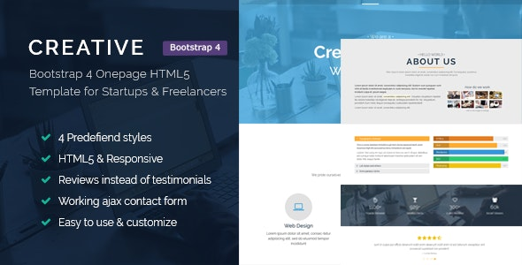 Creative - Bootstrap 4 HTML5 Responsive Template for Startups and Freelancers - Portfolio Creative