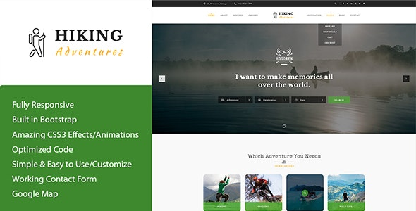 Hiking Adventures - Outdoors HTML Template - Travel Retail