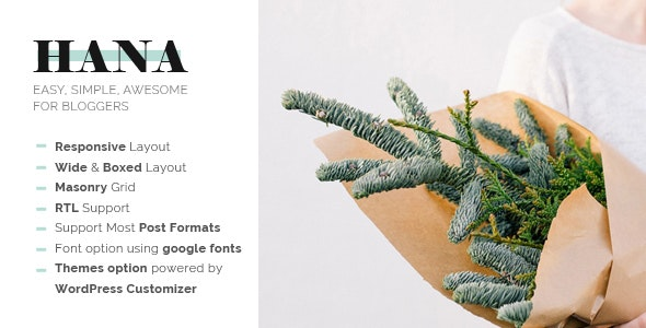Hana - Responsive WordPress Blog Theme - Blog / Magazine WordPress