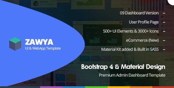 Zawya - Bootstrap 4 & Material Design Premium Admin Dashboard Template - Admin Templates Site Templates