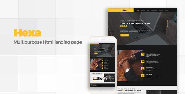 Hexa - Responsive Multipurpose Landing Page - Landing Pages Marketing