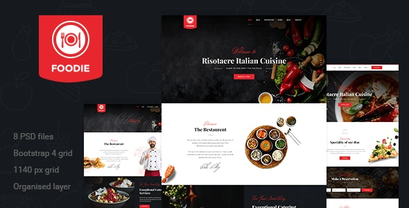 Foodie   Restaurent PSD Template - Restaurants & Cafes Entertainment