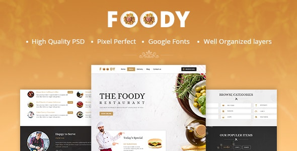 Foody - One Page Restaurant PSD Template - Restaurants & Cafes Entertainment