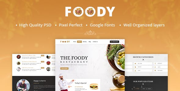 Foody - One Page Restaurant PSD Template