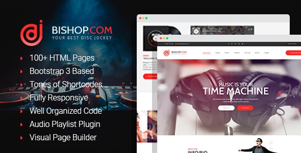 Bishop - Dj Personal Page HTML Template with Visual Builder - Nightlife Entertainment