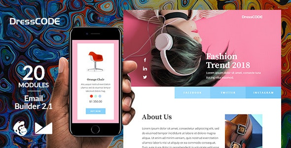 DressCode Responsive Email Template + Online Emailbuilder 2.1 - Newsletters Email Templates