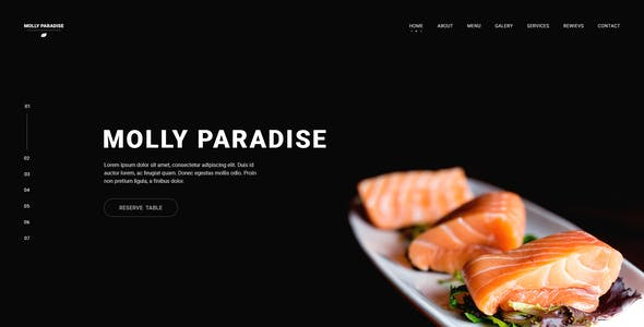 Molly Paradise - One Page, Super Clean Luxury Restaurant Design