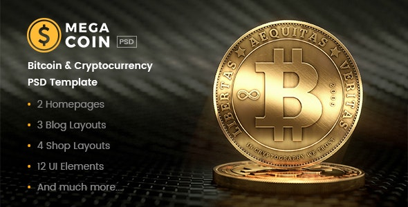 MegaCoin | Bitcoin & Cryptocurrency PSD Template - Business Corporate