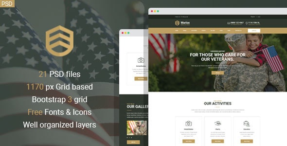 Wariox - Military and Veteran PSD Template - Nonprofit Photoshop