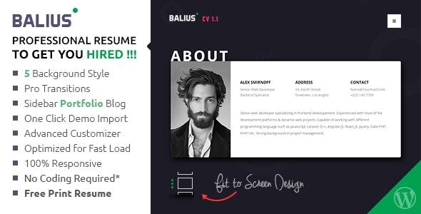 Balius - Resume and vCard WordPress Theme - Portfolio Creative