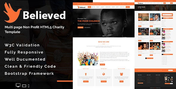 Believed - Multipage Non-profit HTML5 Charity Template - Charity Nonprofit