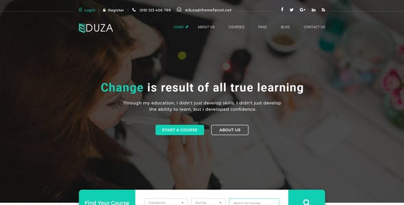 Eduza - Online Courses, Schools & Education PSD Template