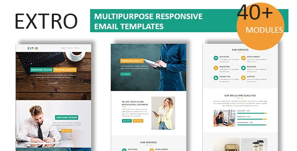 Extro - Multipurpose Responsive Email Template With Online StampReady Builder Access - Newsletters Email Templates