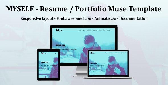 MYSELF - Resume or portfolio Muse Template - Personal Muse Templates