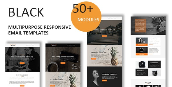 Black - Multipurpose Responsive Email Template With Online StampReady Builder Access - Newsletters Email Templates