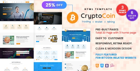 CryptoCoin - Bitcoin Crypto Currency Wallet and Mining Template - Corporate Site Templates