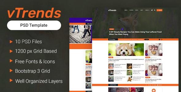 vTrends - Viral Magazine PSD Template - Photoshop UI Templates