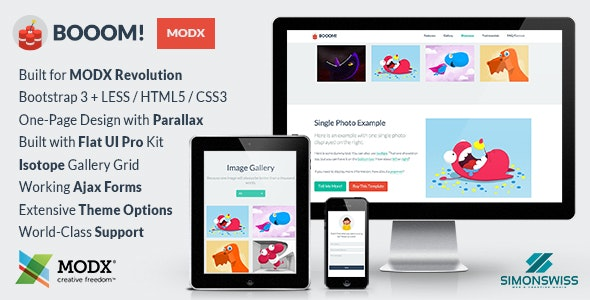 Booom! - Bootstrap Flat UI Pro Theme For MODX by simonswiss
