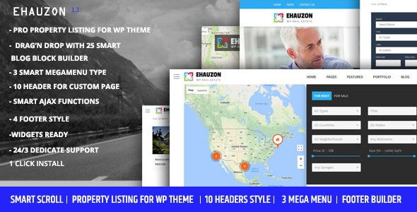 Ehauzon - Property Listing for WordPress Theme - Real Estate WordPress