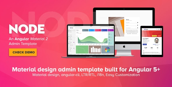 Node - Angular Material 2 Admin Template - Admin Templates Site Templates