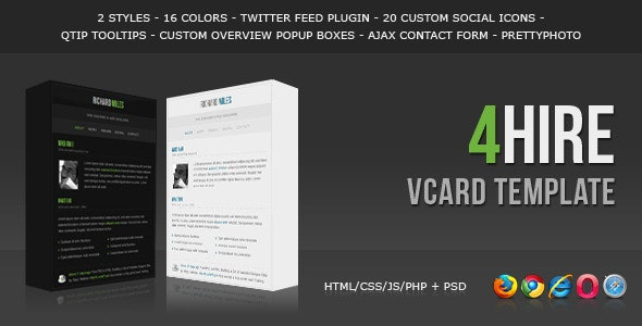 4HIRE - Elegant vCard Template - Virtual Business Card Personal