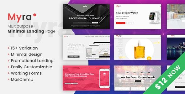 Myra - Multipurpose Minimal Landing Page Template - Landing Pages Marketing