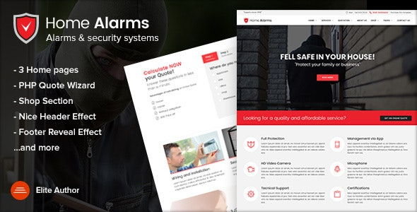 HomeAlarms - Security Systems Site Template - Technology Site Templates