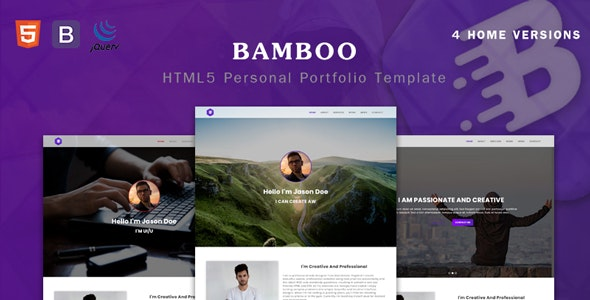 Bamboo - Personal Parallax Portfolio Template - Virtual Business Card Personal