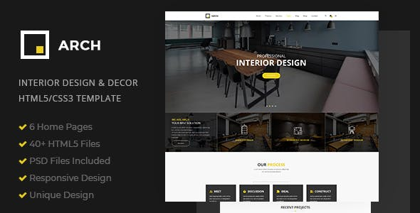 Arch - Interior Design and Decor HTML5 Template