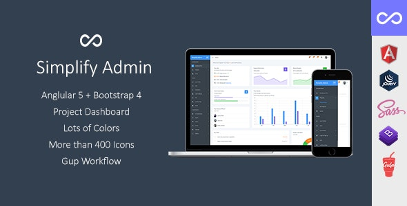 Simplify Admin  Bootstrap 4 Dashboard Template and UI Kit for Angular 5 or JQuery - Admin Templates Site Templates