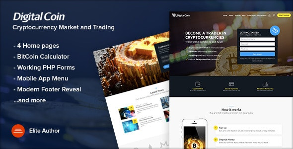 Digital Coin - Cryptocurrency Marketing and Trading Site Template - Business Corporate