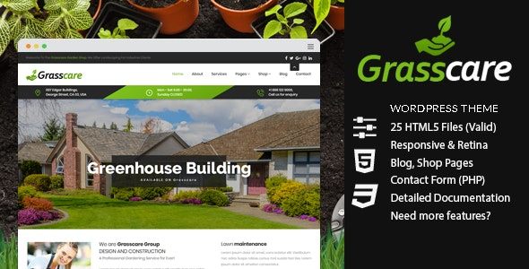 GrassCare - Gardening & Lawn Responsive WordPress Theme - Business Corporate