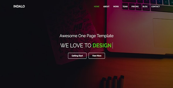 Indalo One Page MultiPurpose HTML5 Template - Corporate Site Templates