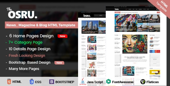 OSRU - News, Blog & Magazine HTML Template - Site Templates