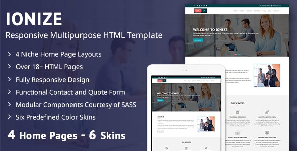 Ionize - Responsive Multipurpose HTML Template - Corporate Site Templates