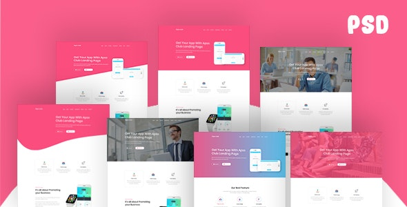 Apps Club – App Landing Page PSD Template - Photoshop UI Templates