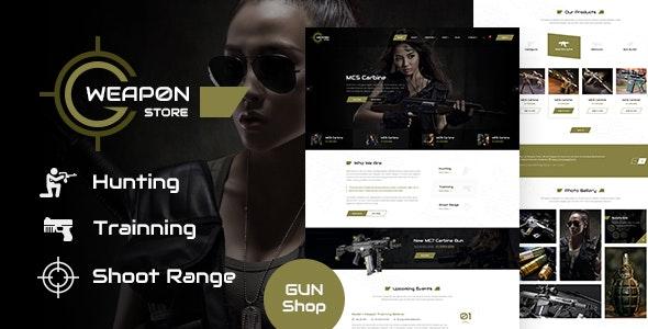 Weapon Store - Gun Shop PSD Template - Retail Photoshop