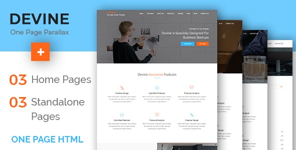 Devine - One Page Parallax Template - Business Corporate